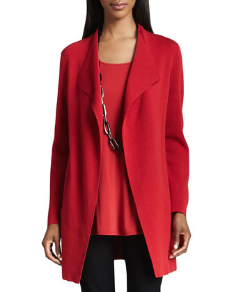 Silk-Cotton Interlock Long Jacket, Petite