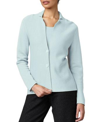 Silk-Cotton Interlock Jacket, Silk-Jersey Tank & Wide-Leg Wool Pants