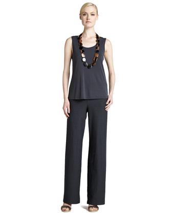 Wide-Leg Stretch-Crepe Pants, Graphite, Women's