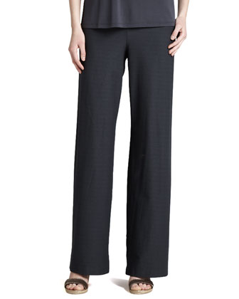 Wide-Leg Stretch-Crepe Pants, Graphite