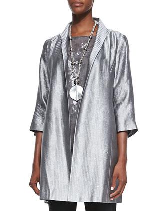 Jacquard Face-Framer Jacket, Short-Sleeve Shimmer Top & Washable-Crepe ...