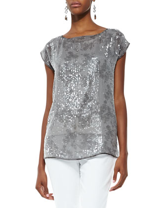 Short-Sleeve Silk Shimmer Top, Women's