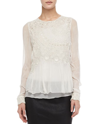 Thuya Embroidered Sheer Layered Top