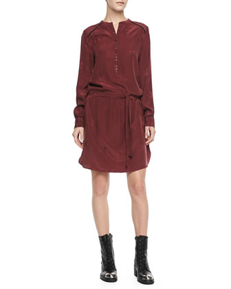 Ruby Long-Sleeve Tie-Waist Jacquard Dress
