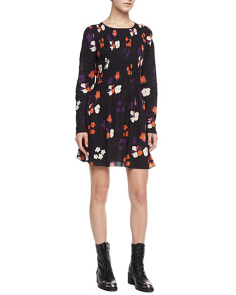 Rodin Long-Sleeve Floral-Print Cotton Dress