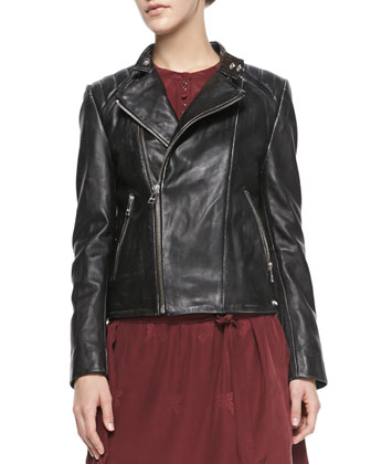 Lily Leather Printed-Back Moto Jacket & Ruby Tie-Waist Patterned Dress