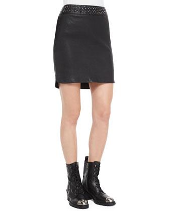 Jasmina Studded-Waist Leather Skirt