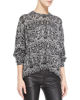 Markus Printed Arch-Hem Sweater & Pharly Deluxe Leather Pants