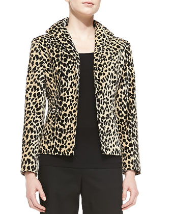 Open-Front Leopard-Print Jacket & Straight Wide-Leg Pants