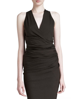Sleeveless Draped V-Neck Top, Burnt Umber