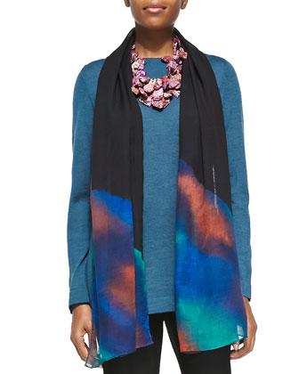 Merino Wool Long-Sleeve Top, Washable Stretch-Crepe Ankle Pants & Printed ...