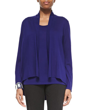 Angled Open Front Cardigan, Ultramarine, Women's