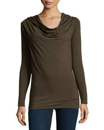 Cowl-Neck Long-Sleeve Top