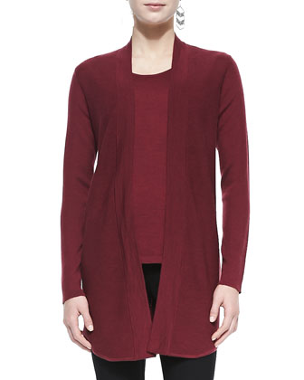 Merino Wool Jersey Long Cardigan, Petite