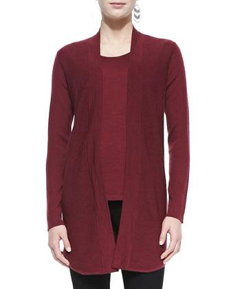 Merino Wool Jersey Long Cardigan, Women's