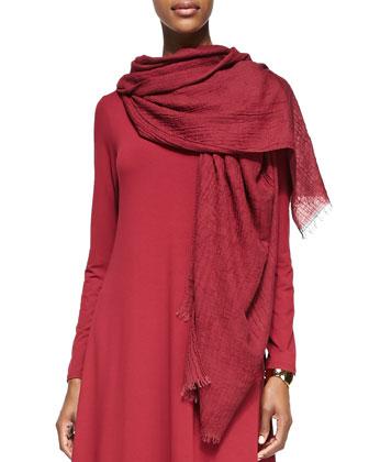 Merino Jersey Shirttail Tunic & Puckered Modal Wool Silk Scarf