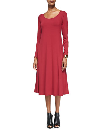 Long-Sleeve Jersey Dress, Petite