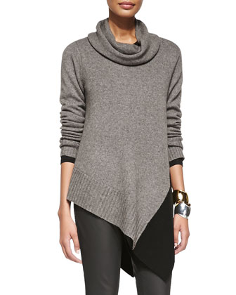 Funnel-Neck Poncho & Waxed Stretch Skinny Jeans, Petite