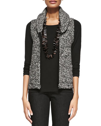 Shawl Collar Tweedy Vest, Women's