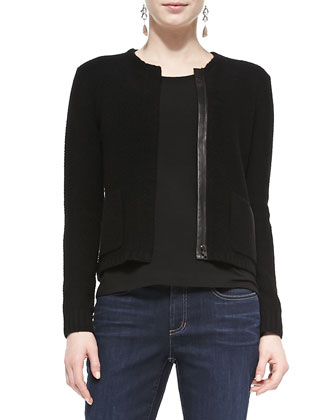 Soft Knit Leather-Trim Short Jacket, Women's