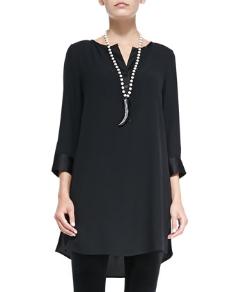 Silk Georgette Crepe Tunic & Stretch Velvet Ankle Leggings