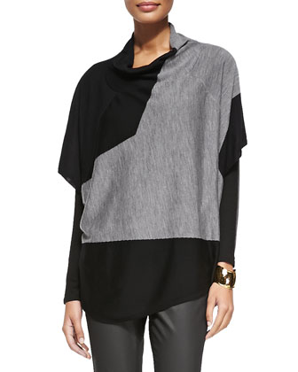 Draped-Neck Merino Colorblock Poncho Top