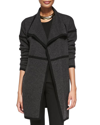 Draped-Front Long Cashmere Cardigan