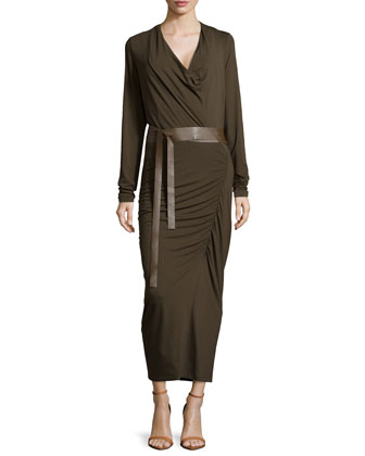 Long-Sleeve Ruched Dress, Burnt Umber