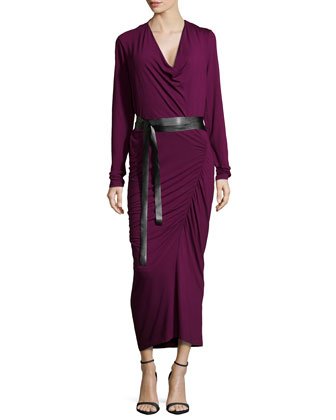 Long-Sleeve Ruched Dress, Amethyst