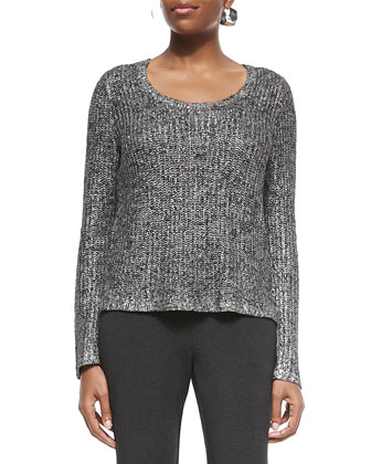 Shimmer Scoop-Neck Long-Sleeve Box Top, Ash