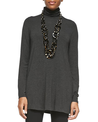 Scrunch Turtleneck Tunic, Charcoal, Petite