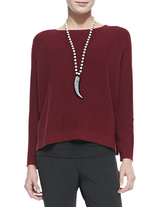 Thermal-Stitch Long-Sleeve Box Top, Petite