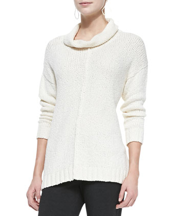 Organic Cotton Crimp Turtleneck Top