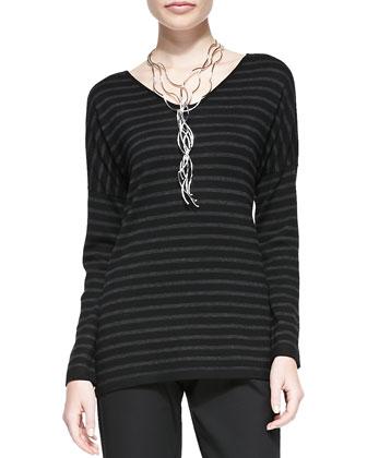 Merino Jersey Striped Long-Sleeve Top & Organic Stretch Twill Slim Ankle ...