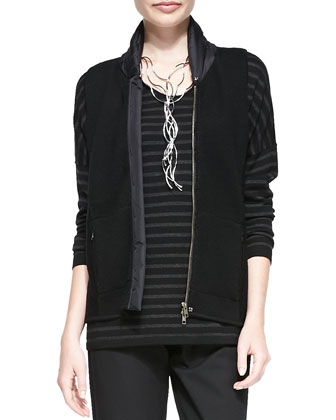 Merino Wool Vest with Parka Trim, Striped Long-Sleeve Top & Twill Slim ...