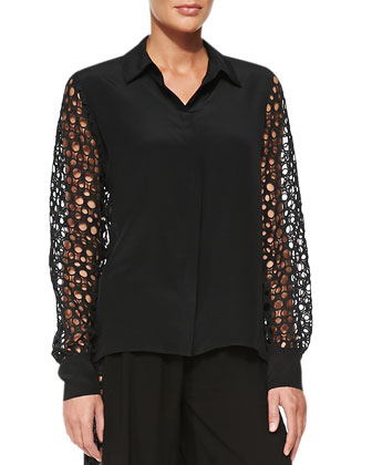 Salerno Net-Sleeve Loose Blouse