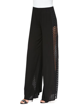 Bolton Net-Side Wide-Leg Pants