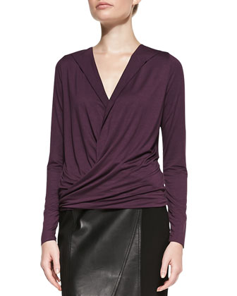 Drape-Front V-Neck Top