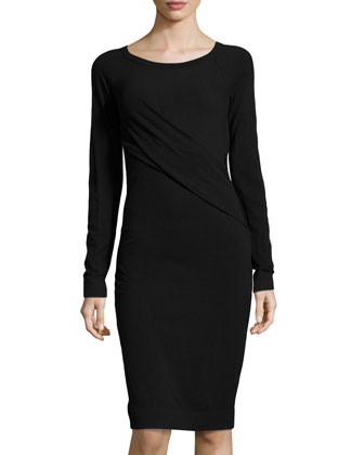 Asymmetric Long-Sleeve Drape Dress, Black