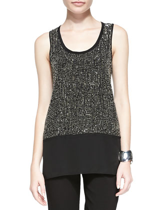 Sequined Rivulet Silk Tank