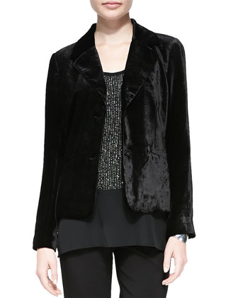 Washed Velvet One-Button Jacket, Petite