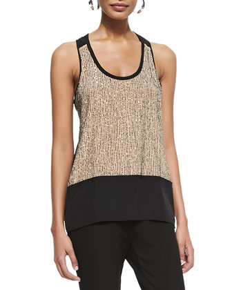 Sequined Rivulet Silk Tank, Black/Rosewater