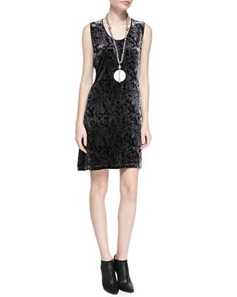 Sleeveless Iridescent Velvet Dress, Petite