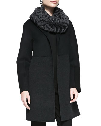 Double-Face Knee-Length Coat, Black/Charcoal