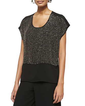 Sequined Cap-Sleeve Silk Top, Petite