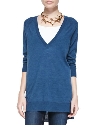 Deep V-Neck Merino Tunic