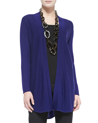 Merino Wool Jersey Long Cardigan, Women's