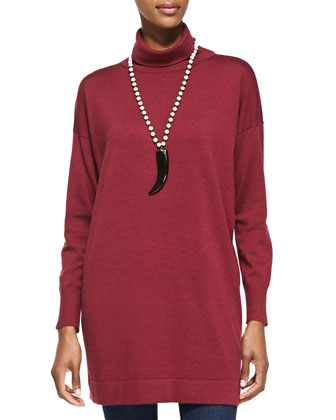 Merino Turtleneck Long Tunic, Petite