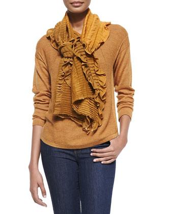 Alpaca Long-Sleeve Top & Pleated Wool Gauze Scarf