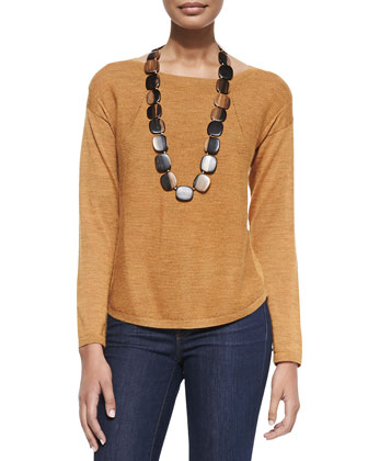 Alpaca Long-Sleeve Top, Annato, Petite